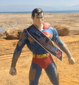 ILMrL sash on Superman sculpture at Dead Sea